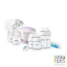 Extractor eléctrico doble natural + Set mamaderas recién nacido Natural, $295.980 (precio referencial). Marca Avent: http://bbt.to/1IQA8M9