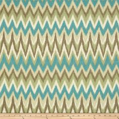 Swavelle/Millcreek Rifat Chevron Aqua/Green from @fabricdotcom  Screen printed on textured cotton (similar to barkcloth), this versatile medium/heavyweight fabric is perfect for window treatments (draperies, valances, curtains and swags), accent pillows, duvet covers and upholstering furniture, headboards, ottomans and poufs. Colors include ivory, brown, sage and aqua.
