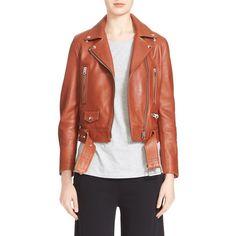 ACNE Studios 'Mock' Lambskin Moto Jacket ($1,600) ❤ liked on Polyvore featuring outerwear, jackets, cedar, cropped jacket, lamb leather jacket, motorcycle jacket, acne studios and lambskin leather jacket
