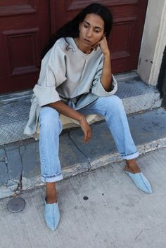 Shoes: denim babouches babouches jeans blue jeans top grey top