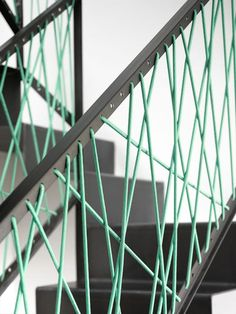 Stair railing - cheap and easily developed colour could change on each floor like spaced yed thread mmmm
