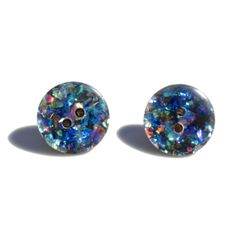 Hologram Iridescent Button Earrings Holograpic