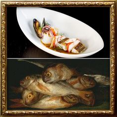 Inspired directly by #Goya's masterpieces, Zarzuela de pescadito y mariscos, a Spanish fish & seafood stew is based on the 'Still Life with Golden Bream' #aquanueva #inspiredbygoya #foodisart #aqualondon