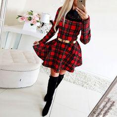 Christmas Dress Women, Winter Dresses, Dress Winter, Winter Outfits, Long Sleeve Mini Dress, Plaid Dress, Classy Dress, Clothes For Women, Sassy Girl
