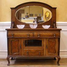 Antique English Walnut Art Nouveau Mirror Back Sideboard, Server, Buffet.