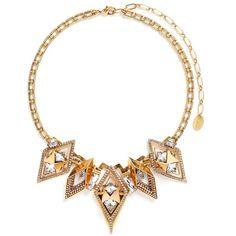 Erickson Beamon 'Geometry One' Swarovski crystal statement necklace ($1,150) ❤ liked on Polyvore featuring jewelry, necklaces, metallic, oxidized jewelry, metallic jewelry, vintage jewelry, statement necklaces and erickson beamon necklace