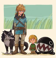 Legend of Zelda game crossover art > BotW Link > Wolf Link > Link's Awakening Remake > Breath of the Wild > Twilight Princess The Legend Of Zelda, Legend Of Zelda Memes, Legend Of Zelda Breath, Zelda Twilight Princess, Link Zelda, Breath Of The Wild, Creepypasta Anime, Manga Posen, Zelda Drawing