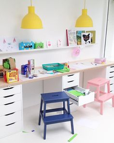 Ikea kids desk hack with cute pastel colors More Ikea Kids Desk, Kids Workspace, Ikea Hack Kids, Ikea Kids Room, Study Desk Ikea, Ikea Childrens Desk, Ikea Hack Desk, Ikea Playroom, Playroom Storage