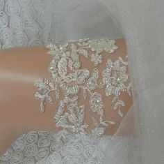 Ivory silver beaded  garter lace garter beaded by BarefootShop