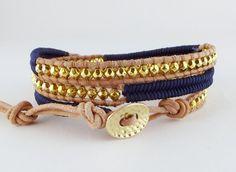 Leren triple herringbone wrap d.blauw / goud van Unycq  op DaWanda.com
