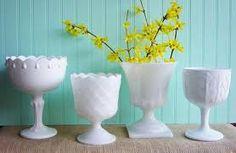 forsythia and milk glass for a spring wedding