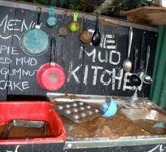 Kids outdoor kitchen, mud, messy play