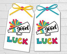 Cheerleading Gifts, Cheer Gifts, Favor Tags, Gift Tags, 6 Tag, Hand Drawn Lettering, Label Paper, Blue Gift, Good Luck
