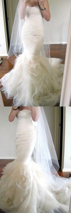Sweetheart Sweep Train Tiered Mermaid Ivory Wedding Dress Ruched WD162 #wedding #dress #fashion #pgmdress #ivory #organza