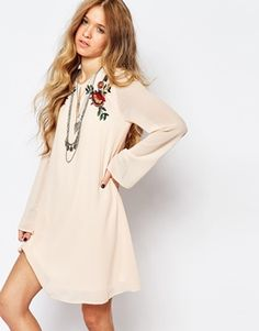 Glamorous Bell Sleeve Smock Dress With Festival Embroidery