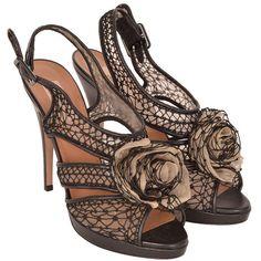 Pre-owned Valentino Black Dangerose Mesh Rosette Sandal ($575) ❤ liked on Polyvore