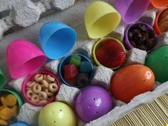 File under: Why Didn't I Think of That? Fill plastic eggs with treats for kid's lunches. #Easter http://www.ivillage.com/easter-recipes-kids-make/6-a-524067#