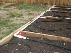 pvc irrigation siystems for gardens | Vegetable garden irrigation system; pvc pipe and soaker hoses