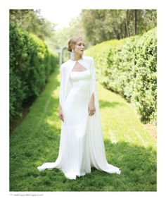 Dress and cape by Monique Lhuillier, featured in the Summer 2013 issue of Weddings Unveiled. #wedding www.weddingsunveiledmagazine.com