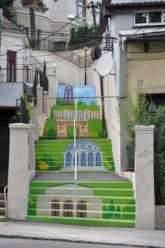 Colorful painting ideas for outdoor stairs, Bucharest, Romania Stairway Art, Stairway To Heaven, Modern Staircase, Staircase Design, Piano Stairs, Escalier Art, Outside Steps, Empire Ottoman, Art Du Monde