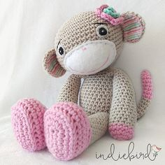Personalised Girl Monkey Amigurumi Monkey by IndiebirdHandmade