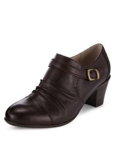 Leather Buckle Shoe Boots