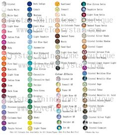 Swarovski flat back Rhinestone Color Chart. This site sells everything you need to swarovski crystalize stuff