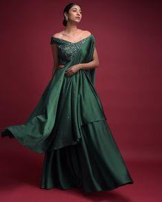 12) Go green with the emerald green flared skirt cum lehenga!
