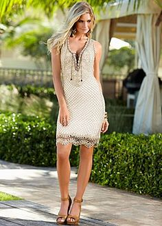 Crochet dress, peep toe heel