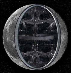 Concepção artística de uma Lua artificial