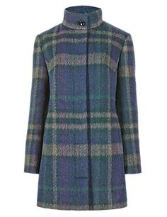 Buttonsafe™ Checked Coat with Wool