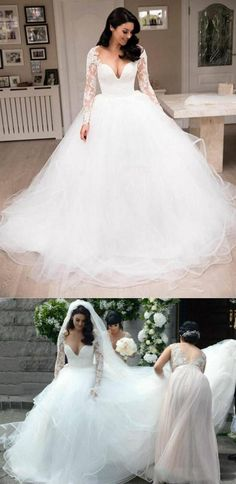V Neck Long Sleeve A Line Tulle Wedding Dresses Lace Bridal Dresses Inexpensive Wedding Dresses, Affordable Bridesmaid Dresses, Pink Wedding Dresses, Tulle Wedding, Bridal Lace, Bridal Dresses, Wedding Ceremony, Prom Dresses Online, Cheap Prom Dresses