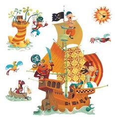 A l'abordage ! Votre moussaillon va pouvoir créer des histoires de pirates sur les murs de sa chambre.