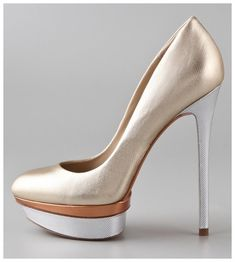 B Brian Atwood Fontanne Platform Pumps in gold, bronze & silver