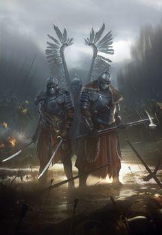 Winged Hussars by Piotr Krezelewski Fantasy Armor, Medieval Fantasy, Dark Fantasy, Viking Power, Armadura Medieval, Bild Tattoos, Armor Concept, Warhammer Fantasy, Fantasy Inspiration