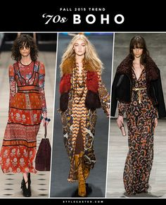 #Boho - 1970s #Bohemian | Late 1960s and early '70s boho was inarguably the season's biggest overarching trend, with dozens of designers—from #burberry to @zimmermann—riffing on classic 1970s shapes and fabrics including bell sleeves, flared jeans, fringe, wide-leg pants, floppy hats, suede, and peasant dresses. If it was worn during Haight Ashbury's heyday, you can bet it'll be worn during Fall 2015. | From left: @burberry; @annasui; @RebeccaMinkoff | 12 #trends for Fall 2015 @stylecaster
