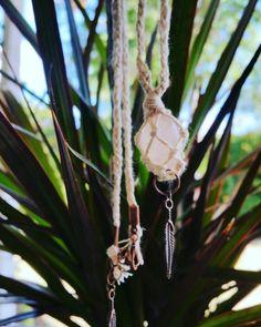 Crystal hangmatten  Boheemse macrame ketting w / door BohoInTheRough