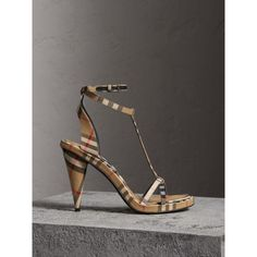 Burberry Vintage Check Cotton High-Heel Sandals Antique Yellow at Burberry