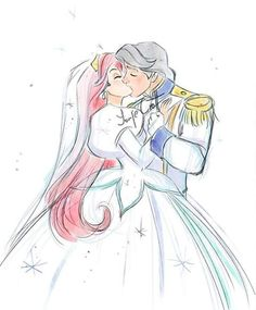 Full sketch of Ariel and Eric. Might finalize later idk Ariel Disney, Disney Couples, Cute Disney, Disney Girls, Disney Magic, Walt Disney, Disney Princesses And Princes, Disney Princess Art, Disney Fan Art