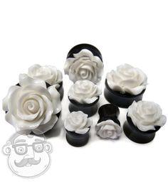 White Rosebud Black Plugs (0 Gauge - 1 Inch) | UrbanBodyJewelry.com