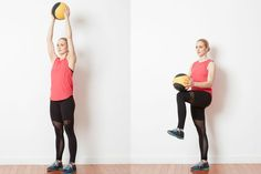 Try This Low Impact Cardio Challenge with a Med Ball and Kettlebell: Warm Up - Knee Lifts with Med Ball
