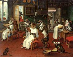 Abraham Teniers (1629-1670)  - Peluquería de caballeros con monos y gatos