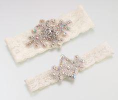 Jeweled Garter Set - Ivory or White