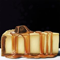 Caramel Truffle Cheesecake - Jelaine Faunce x Oil on Canvas Candy Recipes, Sweet Recipes, Real Food Recipes, Food Clipart, Food Carving, Candy Cakes, Food Painting, Pastry Art, Food Icons