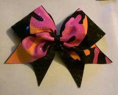 Pink Camo & Black Swoosh Cheer Bow