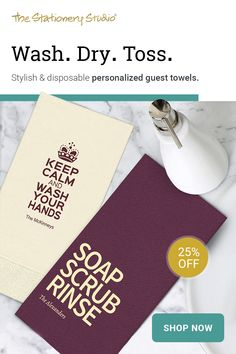 Guest Towels: Wash. Dry. Toss. Stylish & disposable personalized guest towels. Shop now and save up to 25% off!