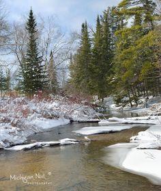 Otter Creek in Sleeping Bear Dunes National Lakeshore Otter Creek, Snowy Woods, Mackinac Bridge, Scenery Pictures, Northern Michigan, Lake Superior, Winter Photography, Great Lakes, Winter Scenes