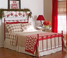 Red accents for Christmas bedroom