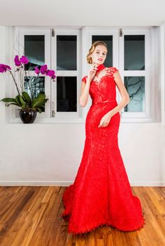 Chili Red Lace Cheongsam See Through Back Mermaid Gown
