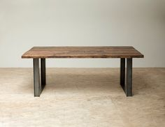 Bold Modern Reclaimed Iron & Wood 'Mt Whitney' Dining Table from etsy